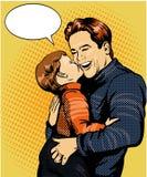 Illustration heureuse de vecteur d'art de bruit de famille Père avec le rétro concept de style de fils Photo libre de droits