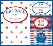 Illustration heureuse de vecteur de vacances de l'Amérique de fond de carte de Jour de la Déclaration d'Indépendance Images stock