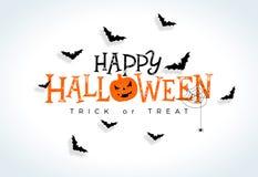 Illustration heureuse de vecteur de Halloween avec le lettrage de typographie, les battes de vol et l'araignée sur le fond blanc  illustration de vecteur