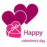 Illustration heureuse de vecteur de Saint-Valentin sur le fond blanc images libres de droits