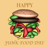 Illustration heureuse du jour 3D de nourriture industrielle photos libres de droits