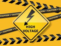 High voltage sign on yellow wall. Illustration of high voltage sign on yellow wall vector background Stock Photography