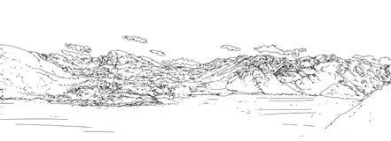 Illustration of a hilly landscape,vintage,banners with nature. Illustration of a hilly landscape Stock Image