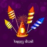 Illustration of hindu festival Diwali background. Illustration of fire crackers with Happy Diwali text on the occasion of hindu festival Diwali Stock Images