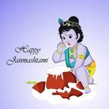 Illustration of Hindu Festival Janmashtami background. Illustration of elements of Hindu Festival Janmashtami background. Janmashtami is a festival celebrated on Royalty Free Stock Photo