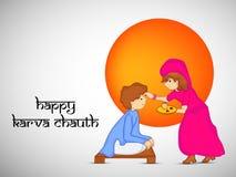 Illustration of Hindu Festival Karva Chauth background. Illustration of elements of Hindu Festival Karva Chauth background Stock Photography