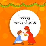Illustration of Hindu Festival Karva Chauth background. Illustration of elements of Hindu Festival Karva Chauth background Stock Images