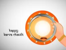 Illustration of Hindu Festival Karwa Chauth background Royalty Free Stock Photo