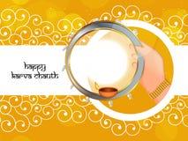 Illustration of Hindu Festival Karwa Chauth background Royalty Free Stock Image