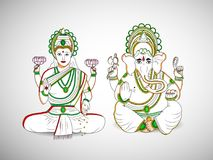 Illustration of hindu festival Diwali background. Illustration of hindu God Ganesh and Hindu Goddess Laxmi on the occasion of hindu festival Diwali Stock Images