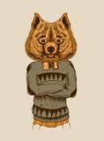 Illustration of a Hipster Dog Stock Images