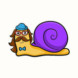 Illustration of hipster snail Royalty Free Stock Photos