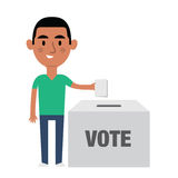 Illustration Of Hispanic Male Character Putting Vote In Ballot Box Stock Photography