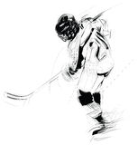 Illustration: hockey player. Ink drawing vectorial illustration of an ice hockey player Stock Photography