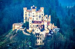 Illustration Hohenschwangau Castle or Schloss Hohenschwangau. Fairytale palace royalty free stock image
