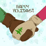 Illustration with holding hands couple in mittens Royalty Free Stock Photography