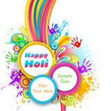 Holi Background. Illustration of holi background with hand print and colorful splash vector illustration