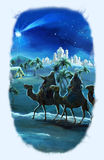 Illustration of the holy family and three kings Royalty Free Stock Photo