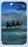 Illustration of the holy family and three kings Royalty Free Stock Image