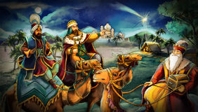 The illustration of the holy family and three kings Royalty Free Stock Photos