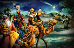 The illustration of the holy family and three kings Stock Photo