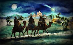 The illustration of the holy family and three kings Stock Image