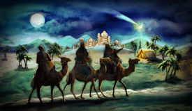 The illustration of the holy family and three kings Royalty Free Stock Images