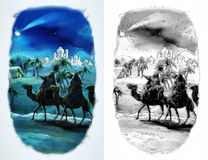 The illustration of the holy family and three kings - coloring page Stock Photos