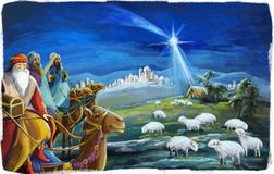 The illustration of the holy family and three kings - traditional scene. Beautiful and colorful illustration for the children - for different usage - for fairy vector illustration