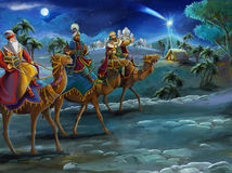 The illustration of the holy family and three kings -  traditional scene - illustration for the children. The happy and colorful scene of three kings - christmas Stock Image