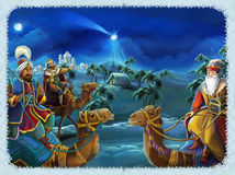 The illustration of the holy family and three kings -  traditional scene - illustration for the children. The happy and colorful scene of three kings - christmas Stock Photo