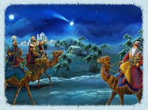 The illustration of the holy family and three kings -  traditional scene - illustration for the children. The happy and colorful scene of three kings - christmas Royalty Free Stock Photos