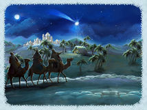 The illustration of the holy family and three kings -  traditional scene - illustration for the children. The happy and colorful scene of three kings - christmas Royalty Free Stock Image