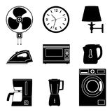 Illustration of home appliance icon set. Electrical machinery. Silhouette vector. Royalty Free Stock Images
