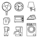 Illustration of home appliance icon set. Electrical machinery. Thin line vector. Stock Photo