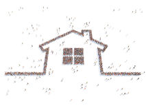 Illustration of a home with people. Isolated Royalty Free Stock Photography