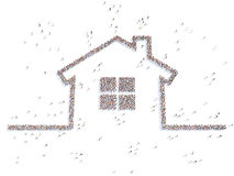 Illustration of a home with people. Isolated Royalty Free Stock Image