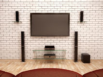 Illustration of home Theater interior. 3d illustration of home Theater interior Stock Photo