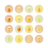 Illustration. Honey jars circled icons set Royalty Free Stock Image
