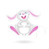 Hopping Bunny. Illustration of hopping Easter bunny on white background royalty free illustration