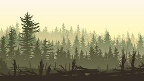 Illustration horizontale avec des silhouettes de forêt de coupe-vent Illustration Libre de Droits