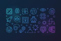 Illustration horizontale colorée de vecteur futuriste dans la ligne style illustration de vecteur