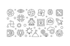 Illustration horizontale de vecteur futuriste dans le style d'ensemble illustration de vecteur