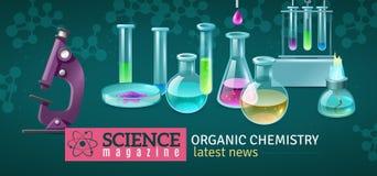 Illustration horizontale de vecteur de magazine de la Science illustration libre de droits