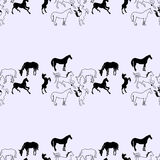 Illustration of the horse. Seamless pattern. Mustangs on a blue background. Royalty Free Stock Images