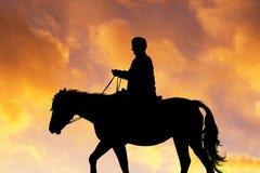 Illustration of horseback excursion. At sunset Royalty Free Stock Image