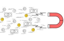 Illustration of horseshoe magnet attracting money Stock Photo