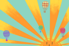 Illustration: Hot Air Balloons is Flying in the Sunlight. Stock Photo