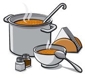Tasty soup in bowl. Illustration of hot tasty soup in bowl and pot with spices and napkins Stock Image