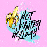 Illustration hot winter holiday with banana on a blue background. Design elements. Stock Photo